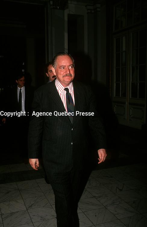 FILE -<br /> Jacques Parizeau circa  1990<br /> <br /> <br /> PHOTO  : Pierre Roussel - Agence Quebec Presse