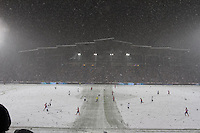 Under a heavy snowfall during the second half,  the USA Men's National Team plays a World Cup Qualifier against Costa Rica at Dick's Sporting Good Park in Commerce City, CO on March 22, 2013.
