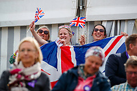 Team GB fans go wild, during the Showjumping. 2021 SUI-FEI European Eventing Championships - Avenches. Switzerland. Sunday 26 September 2021. Copyright Photo: Libby Law Photography