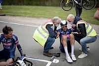 Teammates Oscar Riesebeek (NED/Alpecin-Fenix) & Silvain Dillier (SUI/Alpecin-Fenix) were involved in a crash with about 100km to go<br /> <br /> 105th Ronde van Vlaanderen 2021 (MEN1.UWT)<br /> <br /> 1 day race from Antwerp to Oudenaarde (BEL/264km) <br /> <br /> ©kramon