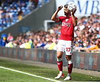 28th August 2021; Cardiff City Stadium, Cardiff, Wales;  EFL Championship football, Cardiff versus Bristol City; Nathan Baker of Bristol City prepares for a throw-in