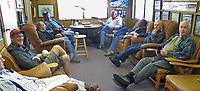 Pilots regularly meet in the mornings for coffee and conversation at the terminal building of the Petaluma Municipal Airport, Petaluma, California.