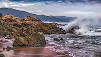 Fine Art Print Ocean scenic of ocean waves crashing onto the rocks of the beach in Puerto Vallarta, Mexico