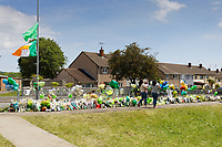 Pictured: Two local women leave flowers in Balfe Road, in the Alway area of Newport, Wales, UK. Monday 14 June 2021<br /> Re: Three men and a boy have who have been charged with murdering a man and robbing him of a Gucci bag, have appeared before Magistrates Court in newport, Wales, UK.<br /> Ryan O'Connor, 26, who was known as Apple, died after being found unconscious and unresponsive in Balfe Road in the Alway area of Newport on Thursday at about 9pm.<br /> Lewis Aquilina, 19, Elliot Fiteni, 19, and Ethan Strickland, 18, all of Cardiff, appeared along with a 17-year-old boy at before Magistrates.<br /> Another 17-year-old boy, who cannot be named, faces the same charges.