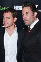 HOLLYWOOD, LOS ANGELES, CA, USA - NOVEMBER 07: Matt Damon, Ben Affleck arrives at HBO's 'Project Greenlight' Season 4 Winner Announcement held at Boulevard3 on November 7, 2014 in Hollywood, Los Angeles, California, United States. (Photo by David Acosta/Celebrity Monitor)