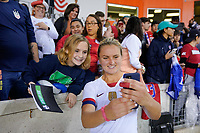 HOUSTON, TX - FEBRUARY 03: Lindsey Horan #9 of the United States takes a selfie with fans during a game between Costa Rica and USWNT at BBVA Stadium on February 03, 2020 in Houston, Texas.