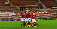 21st November 2020, Oakwell Stadium, Barnsley, Yorkshire, England; English Football League Championship Football, Barnsley FC versus Nottingham Forest; Barnsley team celebrate 88th minute second goal against Nottingham Forrest