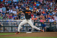 Danny Garcia (14) of the Miami Hurricanes pitches during a game between the Miami Hurricanes and Florida Gators at TD Ameritrade Park on June 13, 2015 in Omaha, Nebraska. (Brace Hemmelgarn/Four Seam Images)