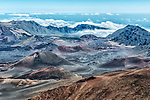 A look into the crater of Mt. Haleakala, from its west rim (elev. 10,000 ft). Mt. Haleakala is a dormant volcano that forms the majority of the land area of Maui.