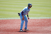 Matt Coutney (21) of the Old Dominion Monarchs takes his lead off of second base against the Charlotte 49ers at Hayes Stadium on April 25, 2021 in Charlotte, North Carolina. (Brian Westerholt/Four Seam Images)