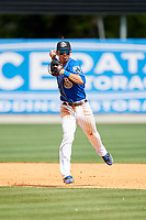 Biloxi Shuckers shortstop Mauricio Dubon (10) throws to first base during a game against the Jackson Generals on April 23, 2017 at MGM Park in Biloxi, Mississippi.  Biloxi defeated Jackson 3-2.  (Mike Janes/Four Seam Images)