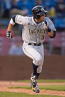 Derek Dietrich #32 of the Georgia Tech Yellow Jackets hustles down the first base line versus the Wake Forest Demon Deacons at Wake Forest Baseball Park April 18, 2009 in Winston-Salem, NC. (Photo by Brian Westerholt / Four Seam Images)