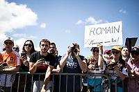 fans awaiting Romain Bardet (FRA/AG2R La Mondiale) at the stage start. <br /> <br /> <br /> Stage 9: Saint-Étienne to Brioude (170km)<br /> 106th Tour de France 2019 (2.UWT)<br /> <br /> ©kramon