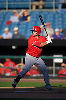 Louisville Bats left fielder Scott Schebler (12) at bat during a game against the Syracuse Chiefs on June 6, 2016 at NBT Bank Stadium in Syracuse, New York.  Syracuse defeated Louisville 3-1.  (Mike Janes/Four Seam Images)