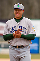 Beloit Snappers pitcher Jesus Zambrano (31) during pregame introductions prior to a Midwest League game against the Wisconsin Timber Rattlers on April 10th, 2016 at Fox Cities Stadium in Appleton, Wisconsin.  Wisconsin defeated Beloit  4-2. (Brad Krause/Four Seam Images)