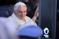 "Pope Benedict XVI  arrive in a bus at Santa Maria degli Angeli's basilica (St Mary of the Angels) to attend the interreligious talks on October 27, 2011. Pope Benedict XVI will lead during the day the 25th Interreligious talks, a ""journey of reflection, dialogue and prayer for peace and justice in the world"" held in St. Francis of Assisi's birthplace,"