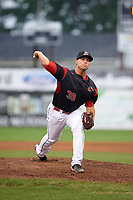 Batavia Muckdogs relief pitcher Vincenzo Aiello (38) delivers a warmup pitch during a game against the Lowell Spinners on July 12, 2017 at Dwyer Stadium in Batavia, New York.  Batavia defeated Lowell 7-2.  (Mike Janes/Four Seam Images)