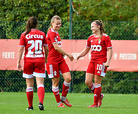 Standard players celebrate the goal of their team (Constance Brackman (20) of Standard  Aster Janssens (5) of Standard  and Davinia Vanmechelen (10) of Standard)  during a female soccer game between Standard Femina de Liege and Eendracht Aalst dames on the fourth matchday in the 2021 - 2022 season of the Belgian Scooore Womens Super League , Saturday 11 th of September 2021  in Angleur , Belgium . PHOTO SPORTPIX | BERNARD GILLET