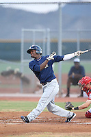 Jorge Quiterio (5) of the AZL Brewers bats during a game against the AZL Reds at Cincinnati Reds Spring Training Complex on July 5, 2015 in Goodyear, Arizona. Reds defeated the Brewers, 9-4. (Larry Goren/Four Seam Images)