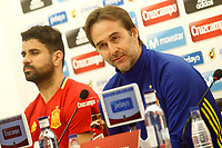 Spain's coach Julen Lopetegui (r) and Diego Costa in press conference before training session. March 23,2017.(ALTERPHOTOS/Acero)