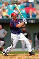 14 March 2006: Mike DiFelice, catcher for the Washington Nationals, at bat during a Spring Training game against the Florida Marlins. The Marlins defeated the Nationals 2-1 at Space Coast Stadium, in Viera, Florida...Mandatory Photo Credit: Ed Wolfstein..