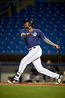 Lake County Captains left fielder Oscar Gonzalez (39) follows through on a swing during the second game of a doubleheader against the South Bend Cubs on May 16, 2018 at Classic Park in Eastlake, Ohio.  Lake County defeated South Bend 5-2.  (Mike Janes/Four Seam Images)