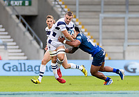 29th August 2020; AJ Bell Stadium, Salford, Lancashire, England; English Premiership Rugby, Sale Sharks versus Bristol Bears; Ben Earl of Bristol Bears is tackled by  Manu Tuilagi of Sale Sharks