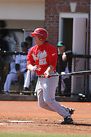 Ohio State Buckeyes infielder Brad Hallberg #21 at bat during a game against the Coastal Carolina Chanticleers at Watson Stadium at Vrooman Field on March 11, 2012 in Conway, SC.  Coastal Carolina defeated Ohio State 3-2. (Robert Gurganus/Four Seam Images)
