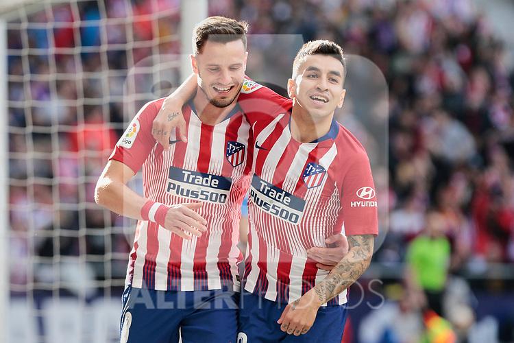 Atletico de Madrid's Saul Niguez (L) and Angel Martin Correa (R) celebrate goal during La Liga match between Atletico de Madrid and CD Leganes at Wanda Metropolitano stadium in Madrid, Spain. March 09, 2019. (ALTERPHOTOS/A. Perez Meca)