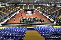 BOGOTA-COLOMBIA, 28-02-2020: Entrega de la adecuación de la cancha de polvo de ladrillo en el Palacio de los Deportes, en donde se disputaran Las clasificatorias Copa Davis by Rakuten 2020 entre Colombia y Argentina en marzo 6 y 7 de 2020. / Delivery of the adaptation of the brick dust court at the Palacio de los Deportes, where the Davis Cup by Rakuten 2020 qualifiers will be played between Colombia and Argentina on March 6 and 7 of 2020. / Photo: VizzorImage / Luis Ramirez / Staff.
