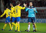 Hearts v St Johnstone...03.12.11   SPL .Peter Enckelman is congratulated by Murray Davidson and full time.Picture by Graeme Hart..Copyright Perthshire Picture Agency.Tel: 01738 623350  Mobile: 07990 594431