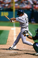 OAKLAND, CA - Wade Boggs of the New York Yankees bats against the Oakland Athletics at the Oakland Coliseum in Oakland, California in 1995. Photo by Brad Mangin