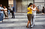People dancing Tango in the streets of Buenos Aires, Argentina 2002.