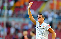 Abby Wambach of team USA celebrates during the FIFA Women's World Cup at the FIFA Stadium in Dresden, Germany on June 28th, 2011.