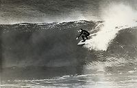 Australian Alan Green, the founder of Quiksilver Boardshorts and clothing company which was set up in Torquay, Victoria,  Australia in 1969. Surfing his home break of Winki Pop. Photo: joliphotos.com