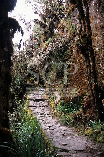 Urubamba Valley, Peru. Inca mountain roadway on the Inca Trail to Machu Picchu.