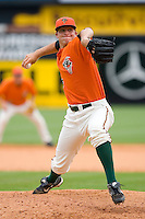 Starting pitcher Johnny Dorn #32 of the Greensboro Grasshoppers in action versus the Kannapolis Intimidators at NewBridge Bank Park June 20, 2009 in Greensboro, North Carolina. (Photo by Brian Westerholt / Four Seam Images)