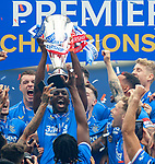 15.05.2021 Rangers v Aberdeen: Glen Kamara with the SPFL Premiership league trophy