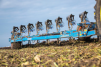 Lemken nine furrow plough and John Deere ploughing ex sugar beet land - Lincolnshire, October