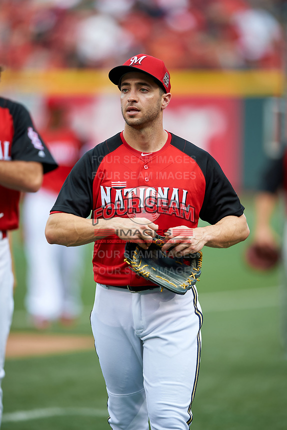 Milwaukee Brewers Ryan Braun during practice before the MLB All-Star Game on July 14, 2015 at Great American Ball Park in Cincinnati, Ohio.  (Mike Janes/Four Seam Images)