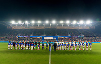 ORLANDO, FL - MARCH 05: The USWNT and England stand for introductions during a game between England and USWNT at Exploria Stadium on March 05, 2020 in Orlando, Florida.