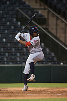 AZL Indians 2 second baseman Makesiondon Kelkboom (26) at bat during an Arizona League game against the AZL Angels at Tempe Diablo Stadium on June 30, 2018 in Tempe, Arizona. The AZL Indians 2 defeated the AZL Angels by a score of 13-8. (Zachary Lucy/Four Seam Images)