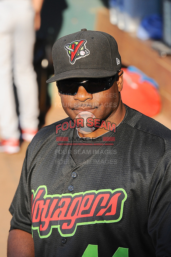 Charles Poe (44) of the Great Falls Voyagers in action against the Ogden Raptors at Lindquist Field on August 14, 2013 in Ogden Utah. (Stephen Smith/Four Seam Images)