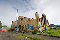Pictured: The now dilapidated Swansea Boys Club building in Mayhill, Swansea, Wales, UK. Wednesday 16 June 2021<br /> Re: Riot aftermath in the Mayhill area of Swansea, Wales, UK.