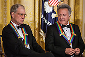 Comedian David Letterman (L) and actor Dustin Hoffman attend the Kennedy Center Honors reception at the White House on December 2, 2012 in Washington, DC. The Kennedy Center Honors recognized seven individuals - Buddy Guy, Dustin Hoffman, David Letterman, Natalia Makarova, John Paul Jones, Jimmy Page, and Robert Plant - for their lifetime contributions to American culture through the performing arts. .Credit: Brendan Hoffman / Pool via CNP