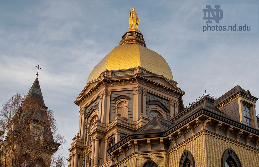April 2, 2020; The Main Building. (Photo by Barbara Johnston/University of Notre Dame)