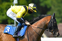 Bless Him ridden by Callum Shepherd goes down to the start of The AJN Steelstock Sovereign Stakes  during Horse Racing at Salisbury Racecourse on 9th August 2020
