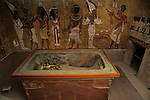 Egypt's Valley of the Kings; Tutankhamun's gilt coffin and granite sarcophagus in his burial chamber in the Valley of the kings; Egypt, New Kingdom