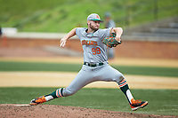 Miami Hurricanes relief pitcher Daniel Federman (99) in action against the Wake Forest Demon Deacons at David F. Couch Ballpark on May 11, 2019 in  Winston-Salem, North Carolina. The Hurricanes defeated the Demon Deacons 8-4. (Brian Westerholt/Four Seam Images)
