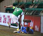 27.01.2021 Hibs v Rangers: Darren McGregor catches Glen Kamara with his studs